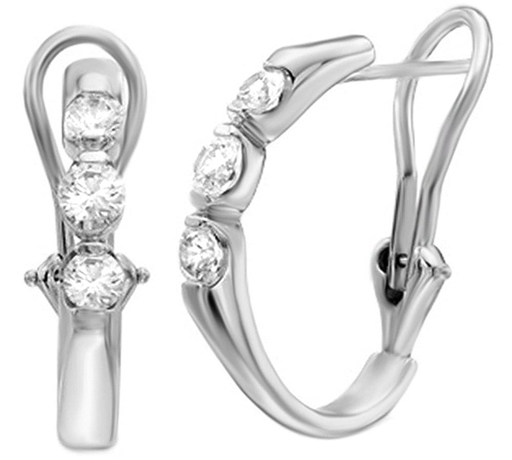 Weißszlig; natürlicher Diamant Drei Stein Creolen in 14 ct 585 Weißszlig; Gold massiv (0,5 Karat) 14 Karat (585) WeißGold