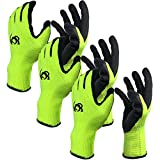 Work Gloves, Costech [Set of 3 Pairs] Knit Latex Coated General Work Glove ; Insulation; Large Size; Non-Slip & Super- Comfort with Textured Rubber Tight Grip Palm for Gardening/Construction (3 PACK)
