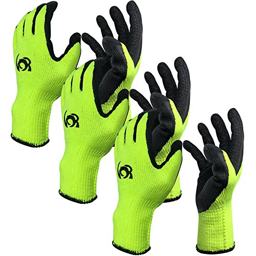 - Work Gloves, Costech [Set of 3 Pairs] Knit Latex Coated General Work Glove ; Insulation; Large Size; Non-Slip & Super- Comfort with Textured Rubber Tight Grip Palm for Gardening/Construction (3 PACK)