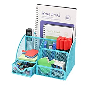 PAG Office Supplies Mesh Desk Organizer Desktop Pencil Holder Accessories  Caddy With Drawer, 7 Compartments, Blue