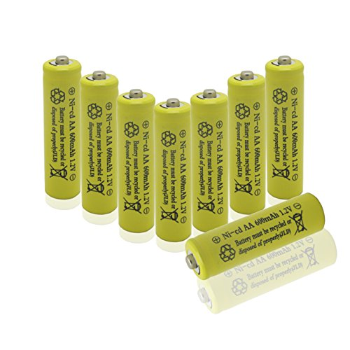 Geilienergy 8 Piece Set Yellow Color AA Size NiCd 600mAh 1.2V Rechargeable Battery For Solar Lamp Solar - Nicd Nimh