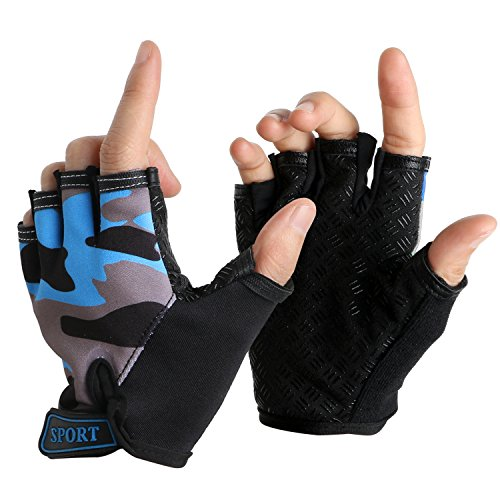 Boy Girl Kid Child Children Half Finger Fingerless Short Shock-absorbing No-Slip Pro Cycling Gloves Mitten for Cycling MTB Exercise Skate Skateboard Roller Skating Other Sports (Blue+Grey)