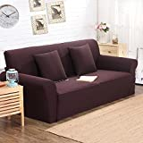 Jacquard Knited Coffee High Elasticity Thicken Fabric Sofa Slipcover Couch Cover Protectorfor Three-Seater 74-90 Inch