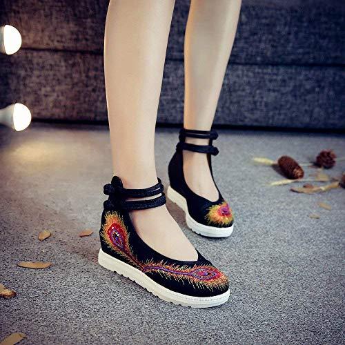 TendonStyle Chaussures BrodéesLinSemelle AugmentéesModeConfortableDésinvolteNoir40coloréTaille Fuxitoggo EthniqueFéminines WrCBxode