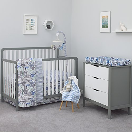 Dwell Studio Safari Skies Animal/Jungle 3 Piece Crib Bedding Set, Blue/Gray/Green/Taupe Dwell Bedding Baby