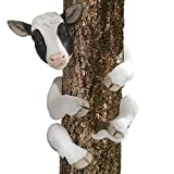 Bits and Pieces-Tree Hugger Cow Garden Peeker-Polyresin Outdoor Tree Sculpture – Whimsical Garden Decoration For Sale