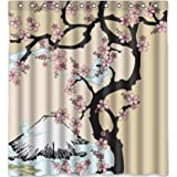 "Top design Beautiful Cherry Blossom Tree,Japan Cherry Blossom art Shower Curtain 66""""(w) x 72""""(h) Generic Shower Curtain Liners"