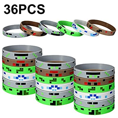 Jovitec Pixelated Miner Crafting Style Character Wristband Bracelets Rubber Bracelets Silicone Wristbands, Pixelated Theme Bracelet Designs for Mining Themed or Crafting Style Party Supplies