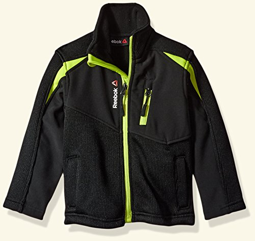 Reebok Toddler Boys' Active Outerwear Jacket (More Styles Available), Syder Fleece Black/Lime, 2T