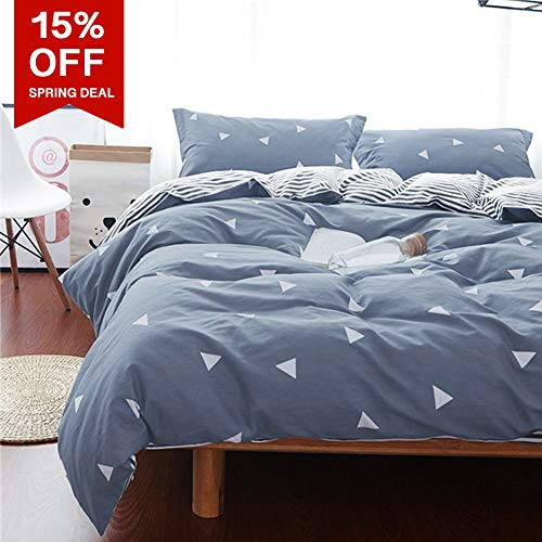 Uozzi Bedding Queen Duvet Cover Set Blue Gray & Triangles 3 Piece Set (1 Spring Duvet Cover 90x90 + 2 Pillow Shams) 800 - TC Luxury Hypoallergenic Comforter Cover with the help of 4 Ties a large number of effective style for Men Women
