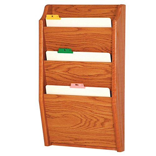 DMD Chart and File Holder, Tapered Bottom Wall Mounted, 3 Pocket, Letter Size, Medium Oak