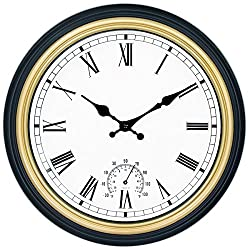 45Min 12-Inch Indoor/Outdoor Retro Wall Clock with Thermometer, Silent Non Ticking Round Wall Clock Home Decor with Roman Numerals