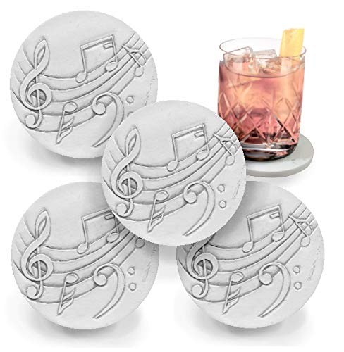 (Drink Coasters by McCarter Coasters, Music, Absorbent, Light Beige 4.25 inch (4pc) )