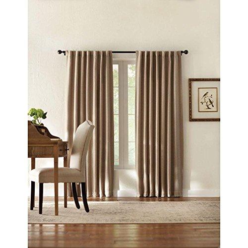 Tweed Tab (Taupe Tweed Room Darkening Back Tab Curtain - 50 in. W x 95 in. L)
