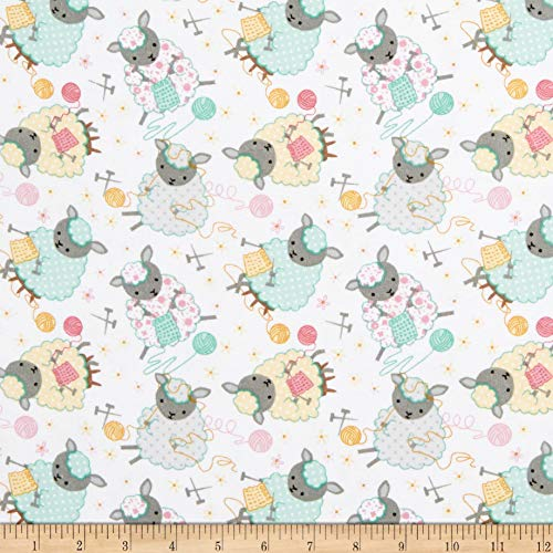 A.E. Nathan Comfy Flannel Print Knitting Sheep White Fabric Fabric by the Yard