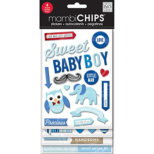 me & my BIG ideas Mambi Chips Sweet Baby Boy Scrapbooking Supplies Baby Chipboard
