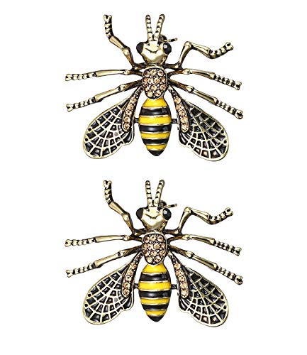 (RINHOO FRIENDSHIP 2 Pcs Cute Honeybee Animal Insect Brooches Pin Colorful Crystal Rhinestones Bee Shape Corsages Scarf Clips Jewelry for Women Girls (2PCS Hornet))
