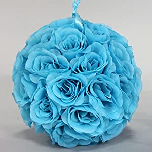 """Faux Rose Kissing Ball in Turquoise - 10"""" Diameter 29"""