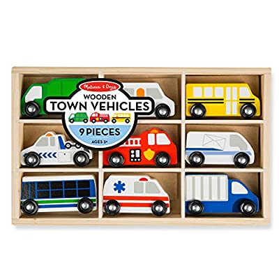 Melissa & Doug Wooden Town Vehicles: Toys & Games