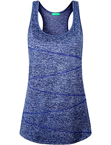 Kimmery Ribbed Tank Tops for Women, Feminine Sleeveless Sport Shirts Razorback Scoop Neck Yoga Wear Clothes Seamless Stitching Bodybuilding Stretchy Lightweight Spandex Polyester Athletic Top Blue L
