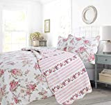 Cozy Line Home Fashions Floral Peony Quilt Bedding Set, Shabby Chic Pink Ivory Flower Printed 100% Cotton Reversible Coverlet Bedspread Romantic Gifts for Women Girl (Pink, King - 3 Piece)