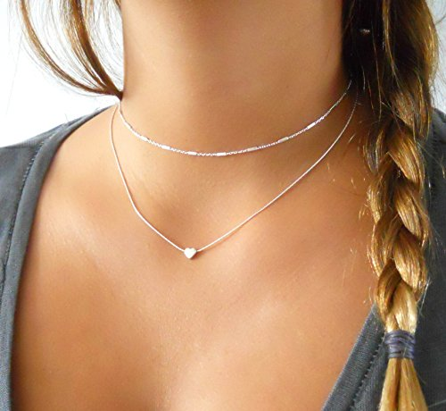 Layered Sterling Silver Necklace Set of 2 - Heart Pendant Necklace & Choker With Tiny Tube -
