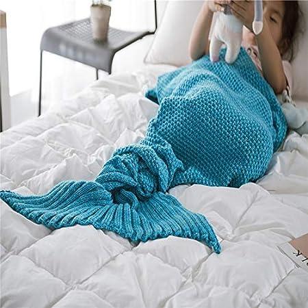 XILIUHU Cola de Sirena Mantas Tejidas a Mano de Adultos Niños bebé Bolsa Crochet Manta Suave Ropa de Cama niños durmiendo Envolver,Deep Blue,70x140cm.