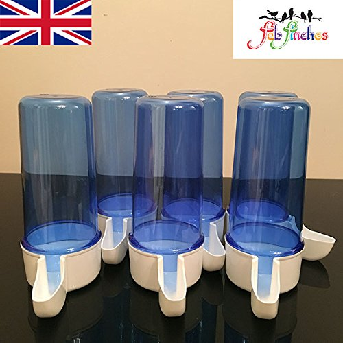 6 x 200cc Blue Anti Algae Bird Drinker Drinkers Birds Cage Front Finches Canaries Budgies Aviary