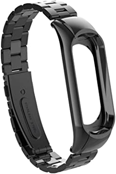 Xiaomi Mi Band 3 Replacement Strap, Miband 3 Replacement Band 16-22CM,Double Elastic Buckle Stainless Steel Metal Wrist Strap Wristband Watchband ...