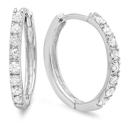 Dazzlingrock Collection 0.20 Carat (ctw) 10K Round White Diamond Ladies Huggie Hoop Earrings 1/5 CT, White Gold