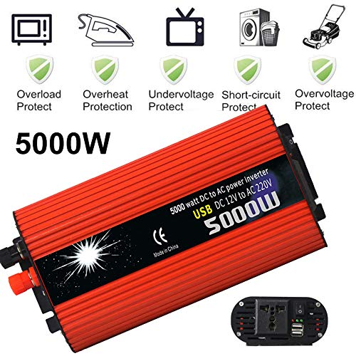 (Leaftree - 5000W Car Power Inverter,DC 12V to 220V AC Converter Adapter with Dual USB for Mobile Phone Laptop Home Appliances)