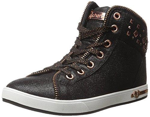 Skechers Kids Girls' Shoutouts-Zipsters Sneaker,Black/Rose Gold,
