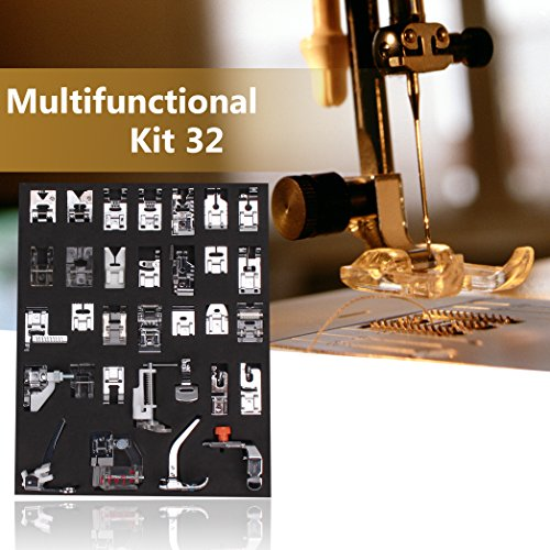 Wisehands 32PCS Sewing Machine Presser Walking Feet Kit for Brother Babylock New Home Janome Elna Toyata Singer Professional & Compatible