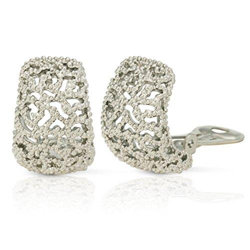JanKuo Jewelry Rhodium Plated Vintage Style Semi Hoop Clip On Earrings