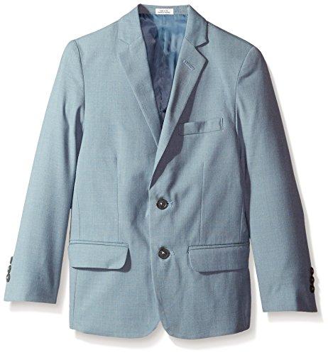 (Calvin Klein Big Boys' Striated Sharkskin Jacket, Medium Teal, 16)