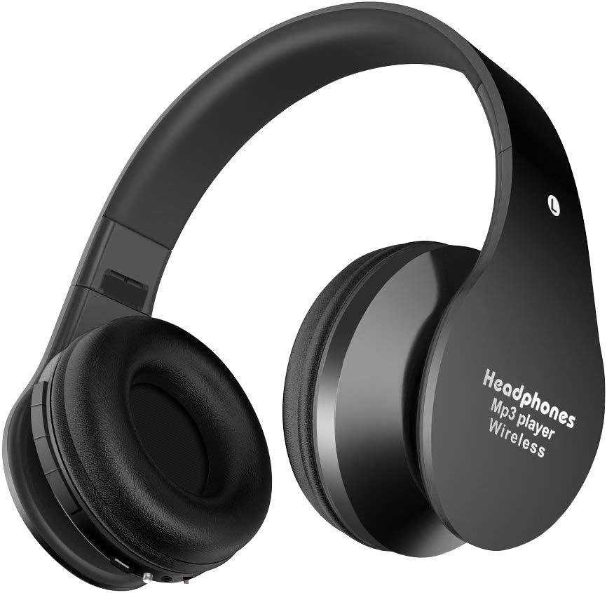 Alitoo Auriculares Bluetooth Inalámbricos,Cascos Bluetooth Plegable con Micrófono Manos Libres y Hi-Fi Sonido Estéreo 12 Horas Reproducción de Música Orejeras de Memoria Suave(Negro)
