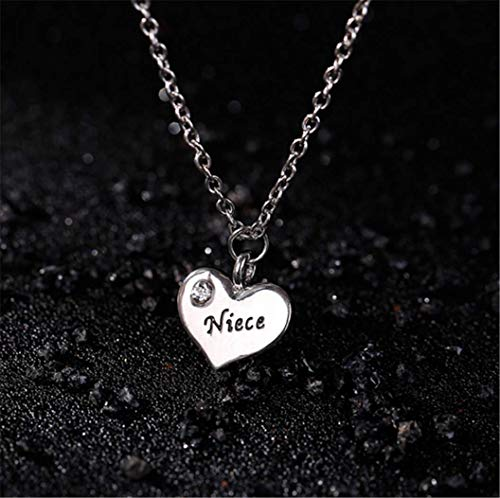 - Small Peach Heart Diamond Family Lettering Necklace Family Series Letters Nurse Teacher Prostitute Father Chain,Niece