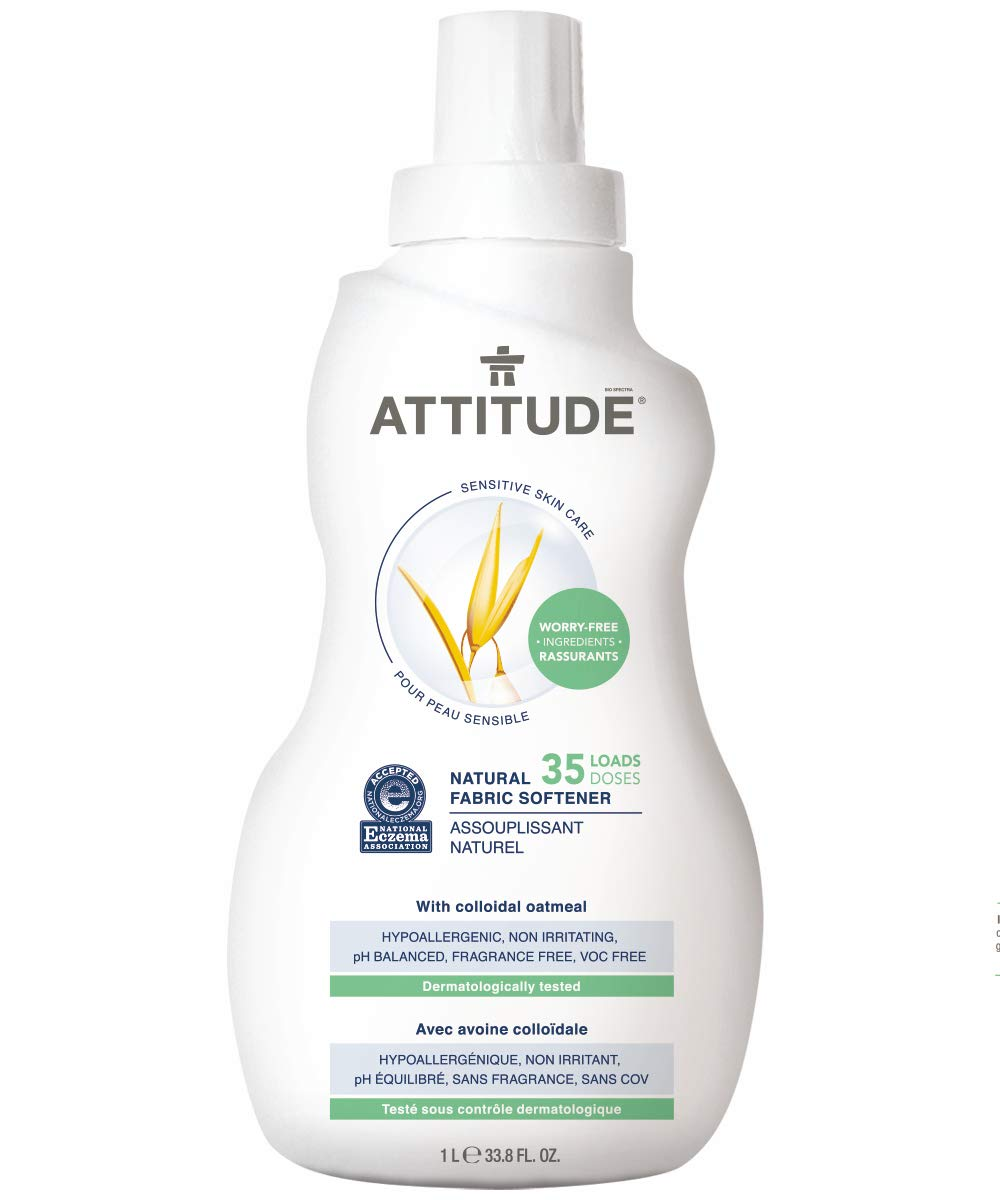 ATTITUDE Sensitive Skin, Hypoallergenic Fabric Softener, Fragrance Free, 33.8 Fluid Ounce, 35 Loads