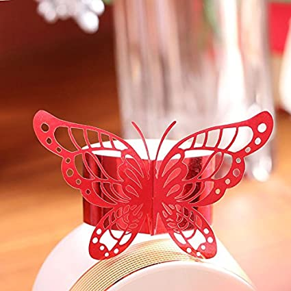 Set of 50 Laser Cut Purple Butterfly Paper Napkin Rings Holders Favors and Gifts Party Wedding Invitations Decor (Gold) Sopeace