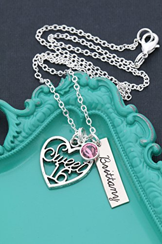 Pendant New 0.25 (Personalized Sweet 16th 16 Birthday Necklace – DII ABC – Handstamped Handmade – 1 x 1/4 Inch 25.6 MM Rectangle Disc – Choose Birthstone Color – Custom Name – Fast 1 Day Shipping)