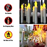 Raycare Set of 24 Flamelesss LED Taper Candles with Warm White Flickering Flame Light, Battery Operated Floating Candles, LED Taper Handheld Candlesticks for Church Party Halloween Decorations