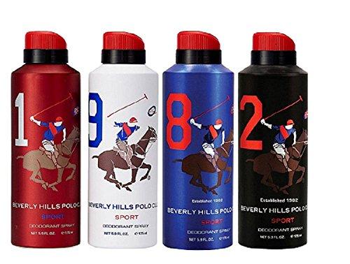 BHPC POLO RED WHITE BLUE BLACK DEODORANT SPRAY FOR MEN (PACK OF 4)