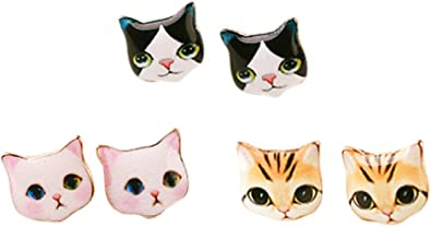 Amazon Com Cutiejewelry Pretty Cute Kitty Cat Earrings For Women And Girls 3 Pairs Combo 1 Jewelry