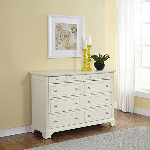 (Home Styles 5530-43K Naples Dresser, 8 Drawer, White)