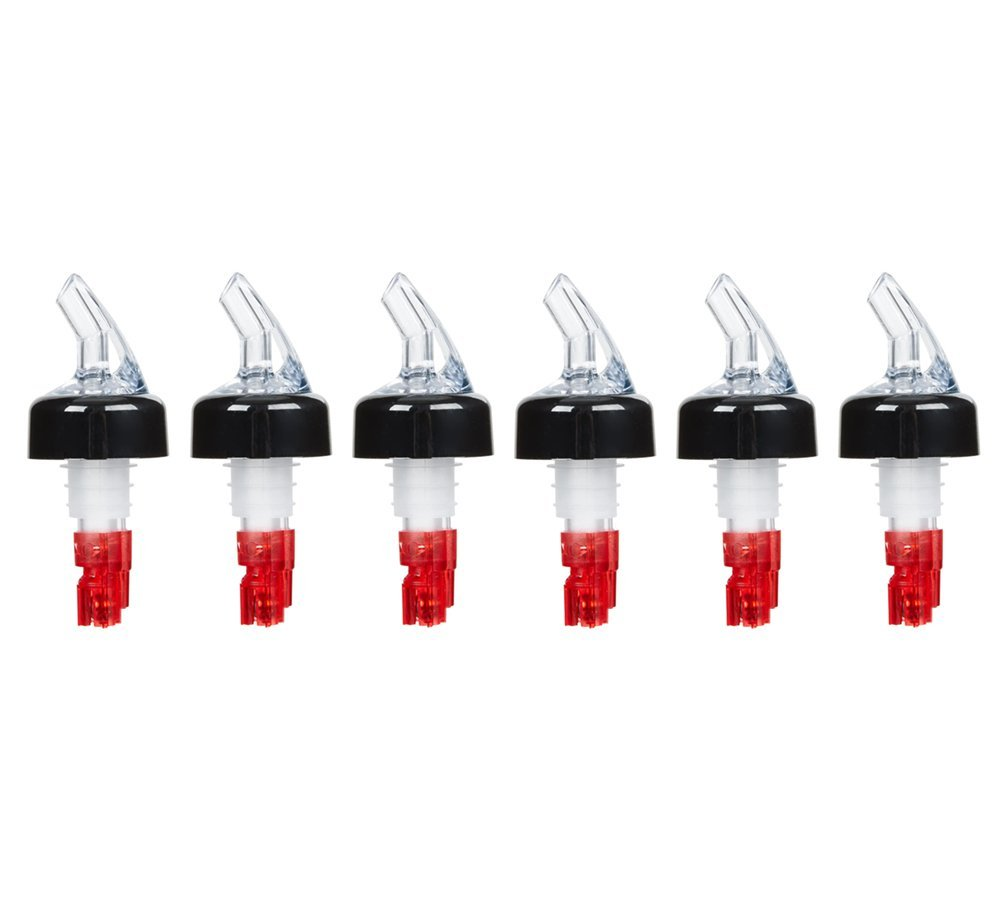 (Pack of 6) Measured Liquor Bottle Pourers, 1 oz, Clear Spout Bottle Pourer with Red Tail and Black Collar, Measured Pour Spouts byTezzorio