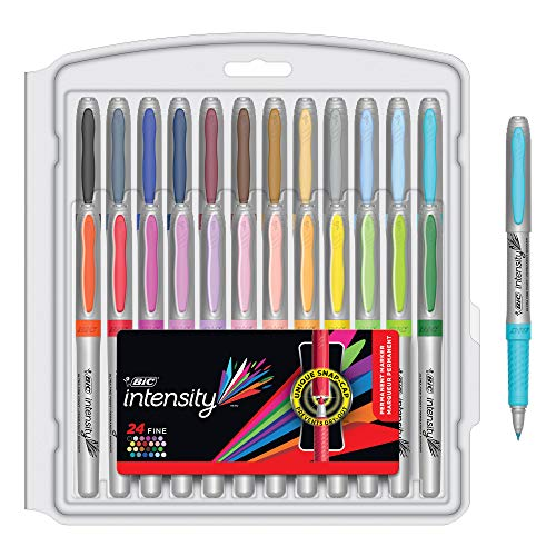 BIC Intensity Fashion Permanent Markers, Fine Point, Assorted Colors, 24-Count (packaging may vary)