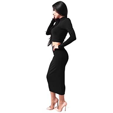 70a292029274d Sunward Women s Long Sleeve Bodycon Party Cocktail Club Skirt + Tops Small  Petite Black