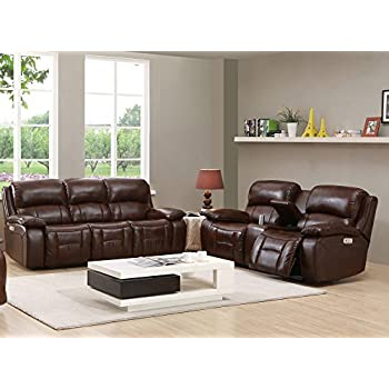 Amax Leather Westminster II Power Reclining Sofa & Loveseat with Power Headrest, Brown