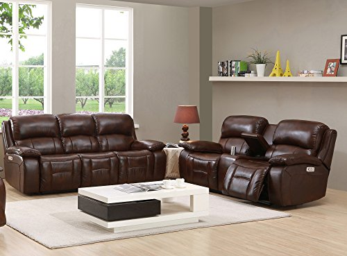 Amax Leather Westminster II Power Reclining Sofa & Loveseat with Power Headrest, Brown (Full Grain Sofa)