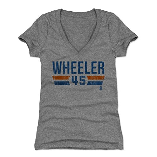 500 LEVEL Zack Wheeler Women's V-Neck Shirt Large Tri Gray - New York Baseball Women's Apparel - Zack Wheeler New York Font B